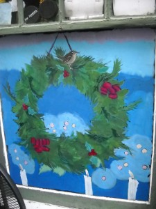 Holly wreath with wrens