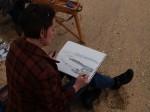 Jean working in pencil