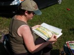 Pat working in watercolor