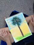 Jean's oil pastel tree