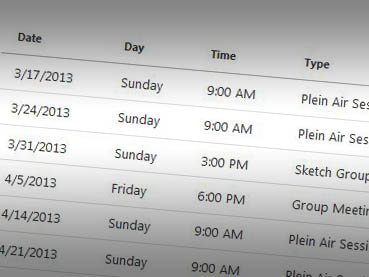 Spring 2013 Schedule of Events